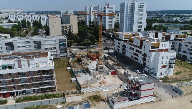 """Vue aérienne travaux construction logement """"Luminescence"""""""